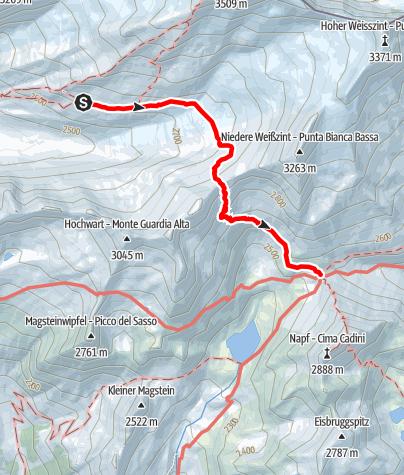 Karte / Übergang Hochfeilerhütte – Edelrauthütte