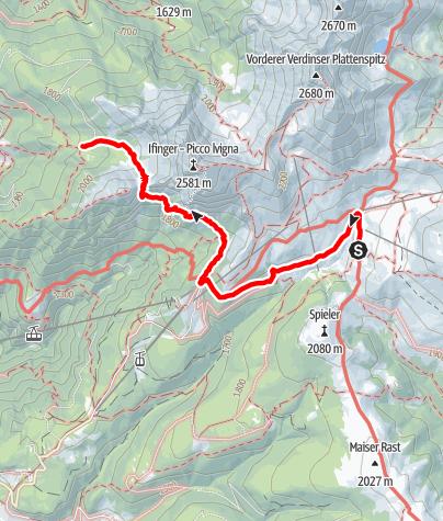 Karte / Übergang Meraner Hütte – Ifingerhütte