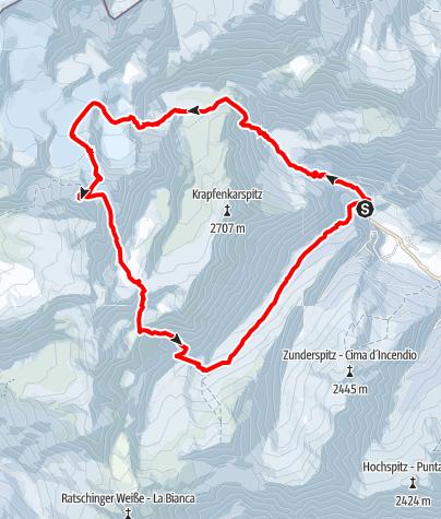 Karte / Die große Botzer Runde aus dem Ridnauntal (3250 m)