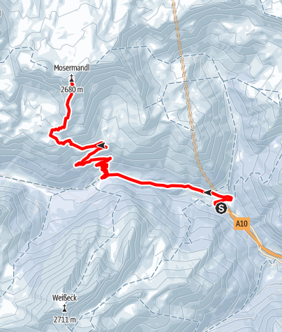 Karte / Zederhaus: Großes Mosermandl (2680 m) Skitour
