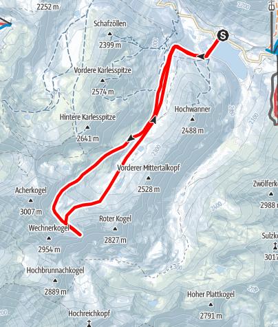 Karte / Wechnerscharte vom Speicher Längental im Kühtai