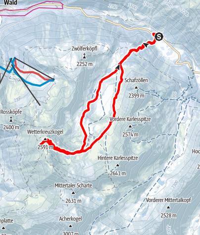 Karte / Wetterkreuzkogel (2587 m) und Wetterkreuz (2578 m) im Kühtai