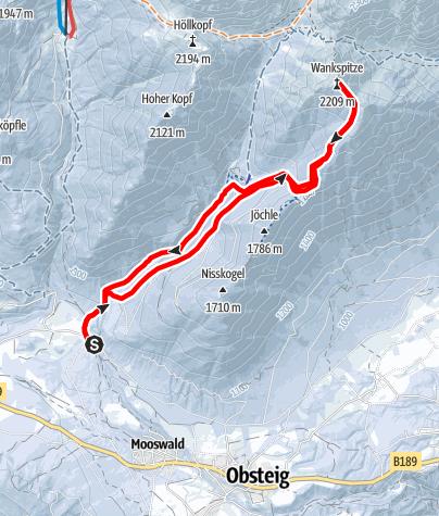 Karte / Wankspitze  2208 m, von Obsteig