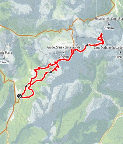 Map / Unterhalb der Drei Zinnen zur Büllelejochhütte