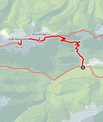Karte / Große Klammspitze über die Brunnenkopfhäuser