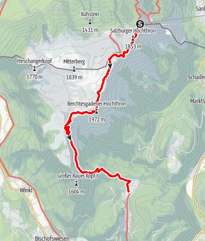 Karte / Untersbergüberschreitung: Von der Untersbergseilbahn über das Stöhrhaus nach Maria Gern