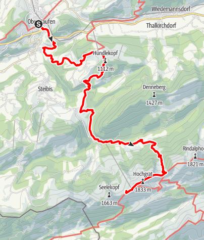 Karte / Wandertrilogie Etappe 42 Oberstaufen-Hochgrat/Staufner Haus - Himmelsstürmer Route