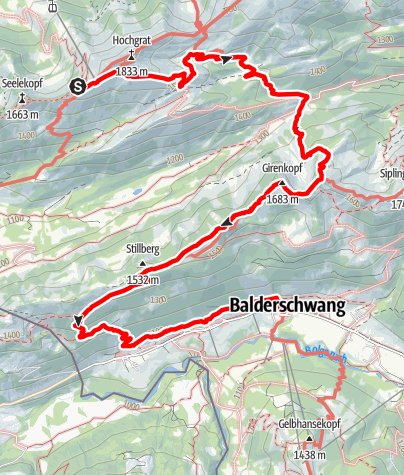 Karte / Wandertrilogie Etappe 43 Hochgrat/Staufener Haus-Balderschwang - Himmelsstürmer Route