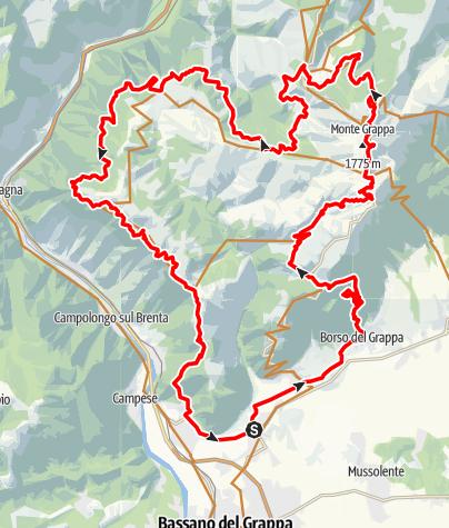 Karte / Lange MTB-Tour auf den Monte Grappa