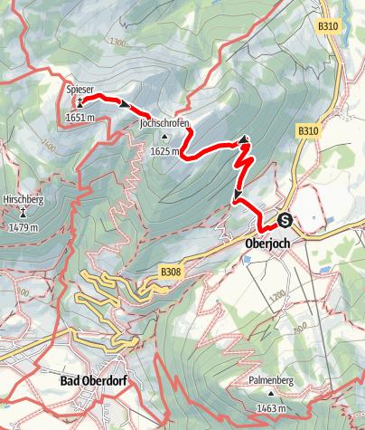 Karte / Vom Oberjoch auf den Spieser