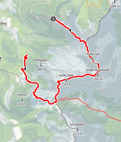 Karte / Über den Mandlgrat auf den Hohen Göll
