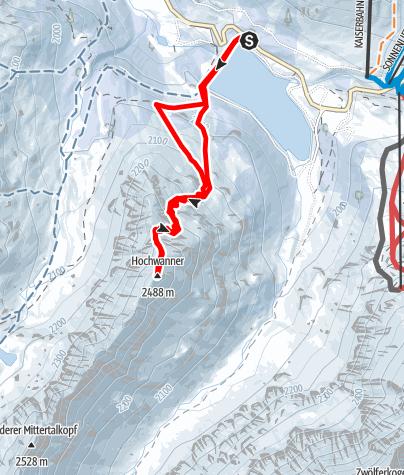 Karte / Hochwanner (2488 m) vom Speicher Längental