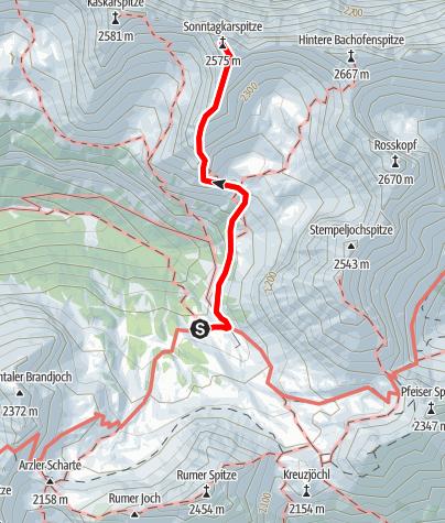 Karte / Sonntagskarspitze (2525 m) von der Pfeishütte