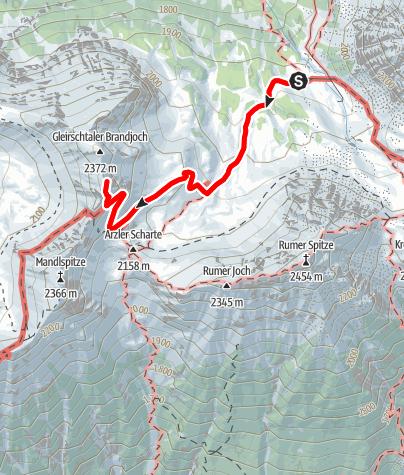 Karte / Auf das südliche Gleirschtaler Brandjoch 2374 m von der Pfeishütte