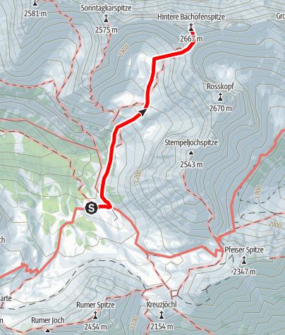 Karte / Hintere Bachofenspitze von der Pfeishütte