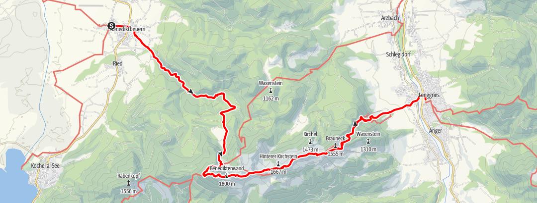 Karte / Über Tutzinger Hütte und Benediktenwand zu Brauneck und Lenggries