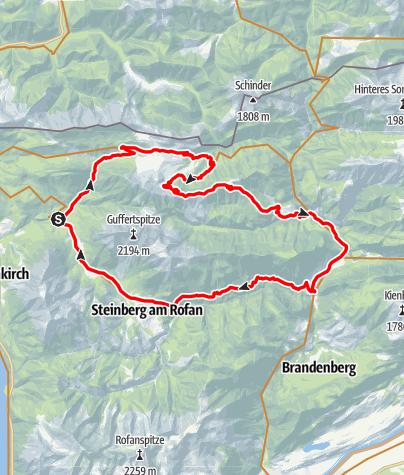 Karte / Guffert-Umrundung mit dem Mountainbike (Variante über Ragstattalm)