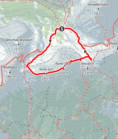 Karte / Rumerspitz 2454m Überschreitung West-Ost von der Pfeishütte aus