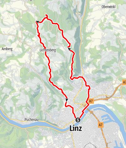 Karte / GIS (927m) von Linz über Gründberg und über den Bachlberg zurück