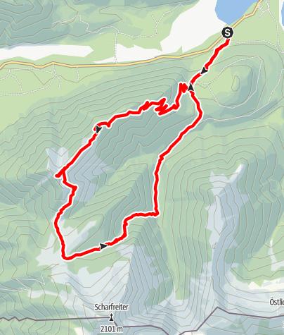 Karte / Grasköpfl - weite und einsame Runde im Karwendel-Vorgebirge