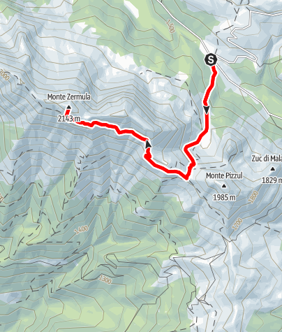 Karte / Zweiländerwanderung auf den Monte Zermula