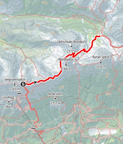 Karte / Zustieg von der Bergstation Hafelekar zur Pfeishütte