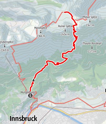 Karte / Zustieg über die Vintlalm und Kreuzjöchl zur Pfeishütte
