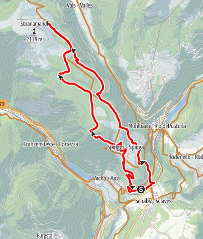Karte / Mit dem MTB über Spinges zur Anratter Hütte