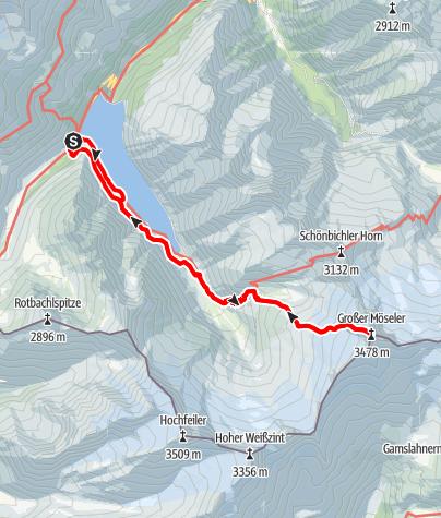 Karte / Großer Möseler (3.478m) vom Schlegeis Stausee (mit Übernachtung auf dem Furtschaglhaus)