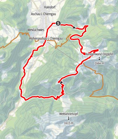 Karte / Abwechslungsreiche MTB-Tour an der Kampenwand