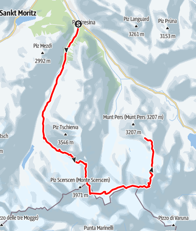 Karte / Piz Bernina (4.049 m) - Einziger 4000er  der Ostalpen