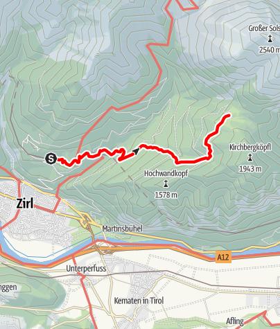 Karte / Zustieg vom Bahnhof Hochzirl zur Neuen Magdeburger Hütte