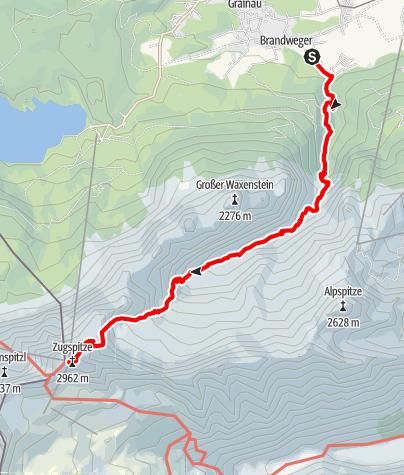 Karte / Zugspitze durch das Höllental