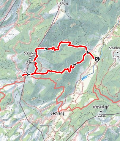 Karte / Nr. 08 Vom Ortsteil Innerwald zum Spitzstein - Weg gesperrt