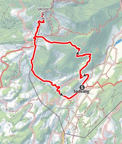 Karte / Von Sachrang zum Spitzstein Nr. 06 - Bergsteigerdörfer Schleching & Sachrang - Weg gesperrt