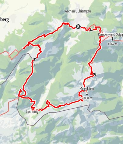 Karte / Kampenwand - Geigelstein - Spitzstein - Hochries - Auf Schusters Rappen ums Priental