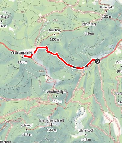 Map / Zu den Gindelalmen