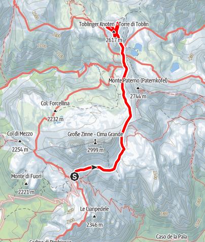 Map / Leiternsteig - Toblinger Knoten, 2617 m - Sextner Dolomiten