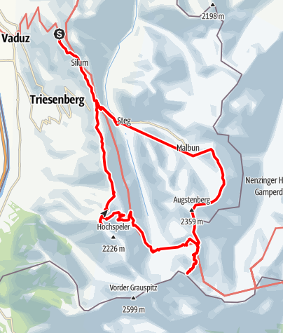 Karte / Liechtenstein_2013_2 - Anschluss an Tour 1 - gestrichelt, bzw. Bus-/Seilbahn-Transfer
