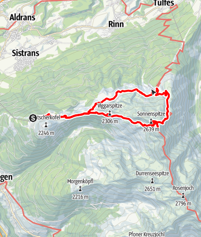 Karte / Patscherkofel - Viggarspitze - Sonnspitze - Glungezer