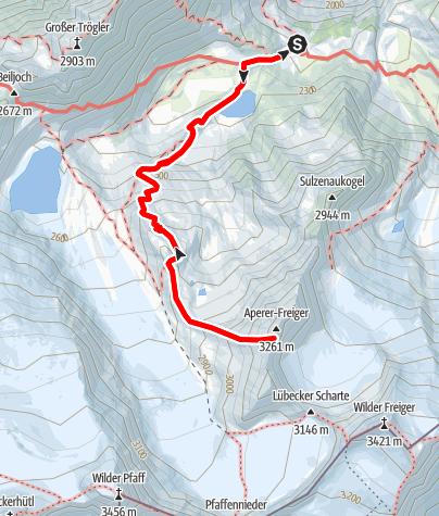 Map /  Aperer Freiger von der Sulzenauhütte