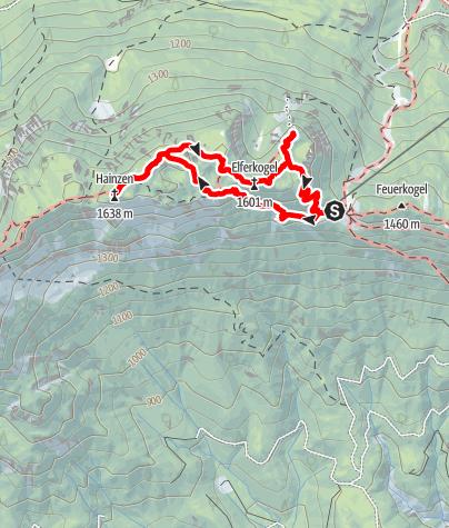 Karte / Hainzen (1638m) - Elferkogel (1601m) - Katrin (1542m), die Siebenseenblickwanderung