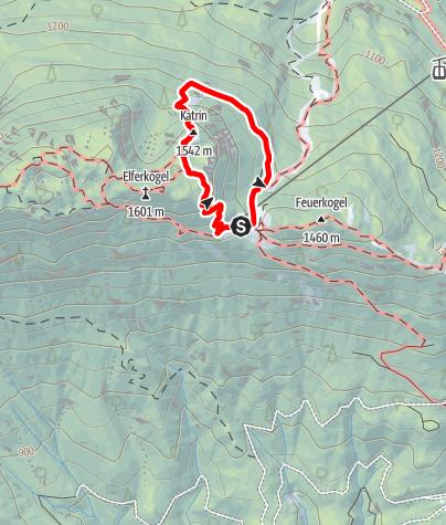 Karte / Katrin Klettersteig, eine Einsteigertour
