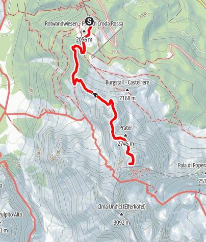Map / Rotwand Klettersteig - Sextener Rotwand, 2936 m - Sextener Dolomiten