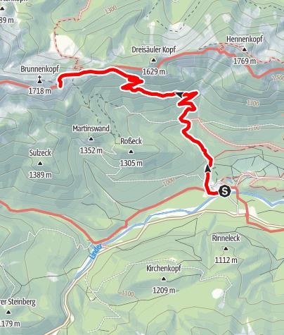 Karte / Zu den Brunnenkopfhäusern