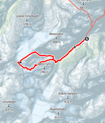 Karte / Wildes Hinterbergl (3288 m) über Berglasübergang und Nordflanke