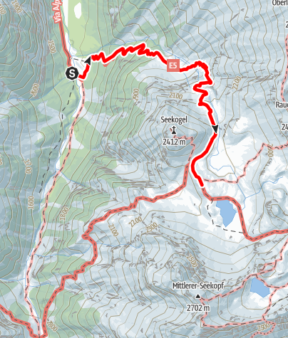 Karte / E5 Bach-Madau-Memminger Hütte