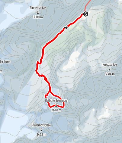 Karte / Östliche Seespitze (3416 m) von der Franz-Senn-Hütte