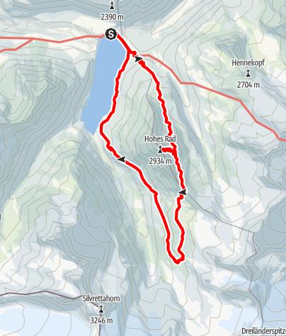 Karte / Besteigung vom Hohen Rad und Einkehr auf der Wiesbadener Hütte