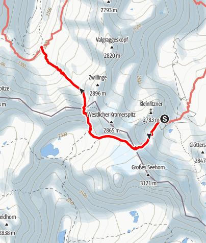 Karte / Montafoner Hüttenrunde - Saarbrücker Hütte bis Tübinger Hütte